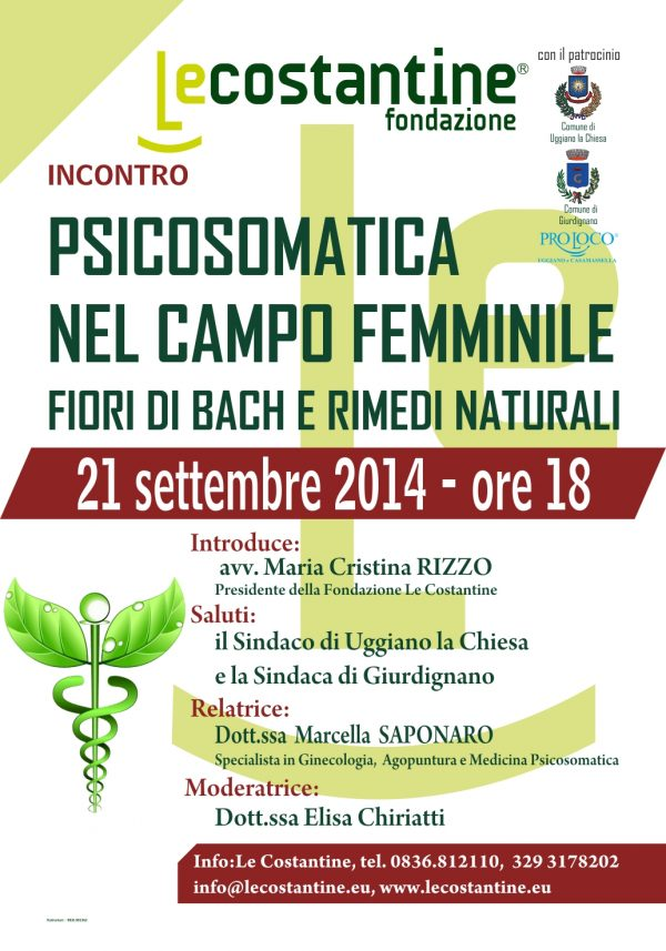 """""""Psicosomatica nel campo femminile. Fiori di Bach e rimedi naturali"""" a Le Costantine"""