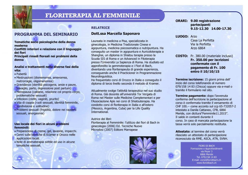 Floriterapia al femminile: programma del seminario